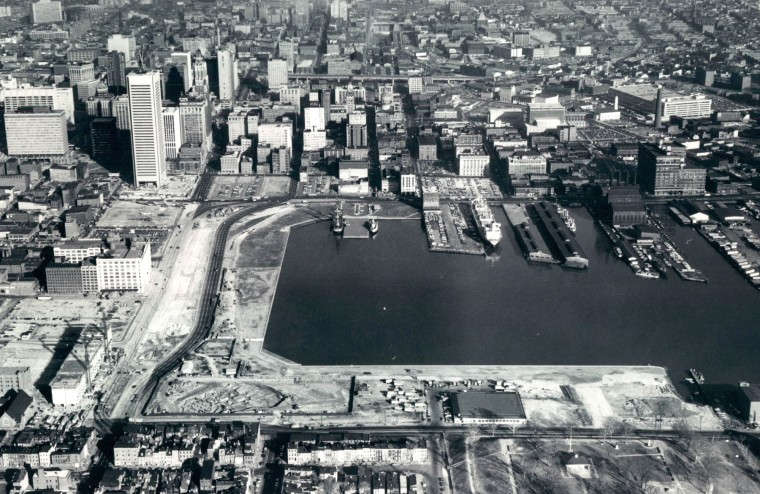 Inner Harbor construction is seen in 1973. (William LaForce/Baltimore Sun)