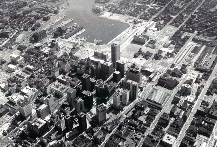 Downtown Baltimore is seen from above in 1975. (Lew Bush/Baltimore Sun)