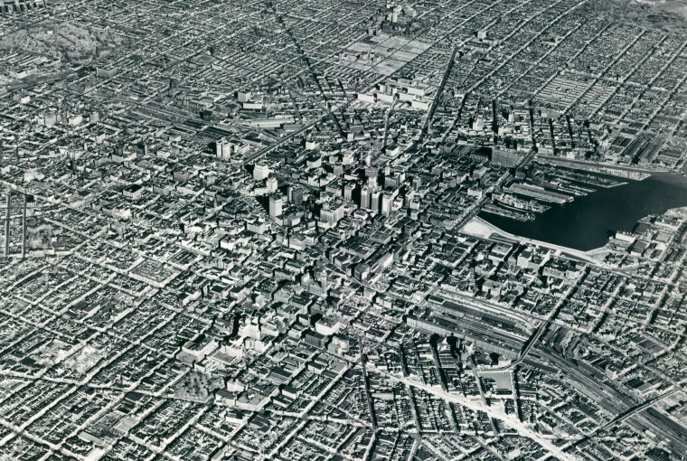 Baltimore City is seen in an aerial survey photo in 1956. (Baltimore Sun)