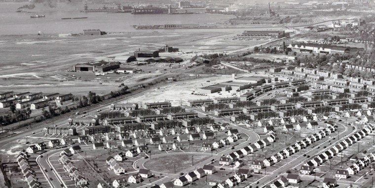 Tract housing is seen adjacent to Baltimore Municipal Airport in 1950s.  The airfield is now Dundalk Marine Terminal. (Baltimore Sun)