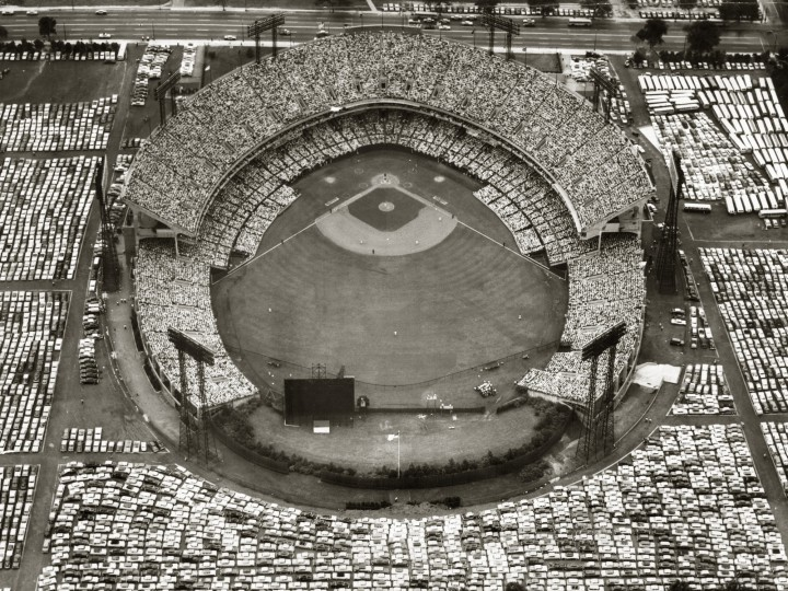 Memorial Stadium and the surrounding parking lots are packed during the All Star Game in July 1958.  (Robert F. Kniesche/Baltimore Sun)