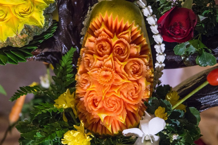A carved papaya is displayed during a fruit and vegetable carving competition in Bangkok on August 4, 2017. It is a royal tradition that has proved bountiful through the ages and one that Thailand's fruit carvers are determined to keep alive -- even as young people peel away from the unique art form. (ROBERTO SCHMIDT/AFP/Getty Images)