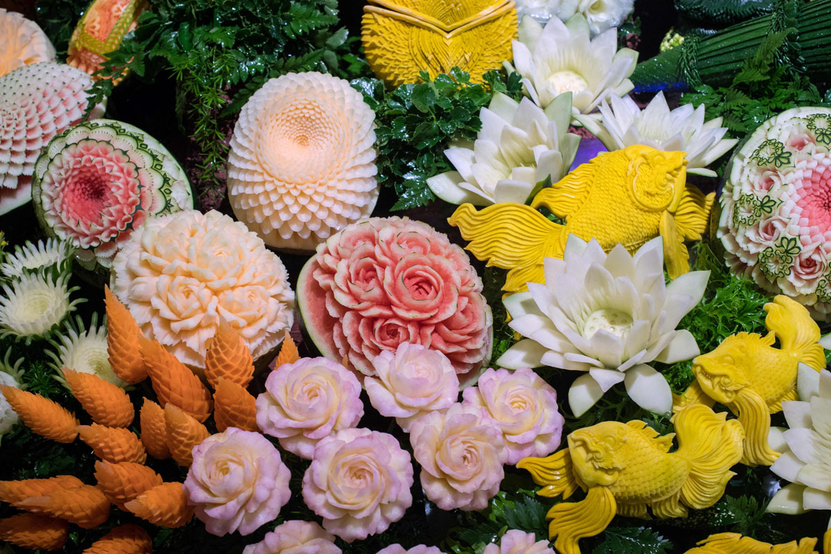 Fruit and vegetable carving competition in thailand