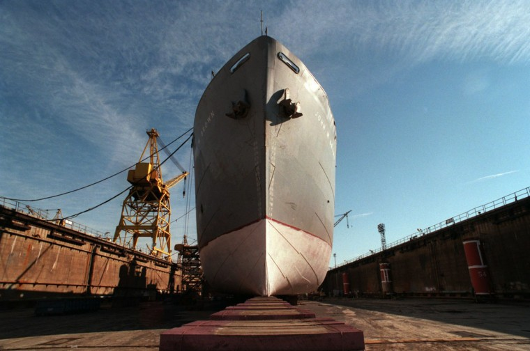 SPARROWS POINT, BALTIMORE COUNTY, MD--Baltimore Marine Industries (Old Beth Steel Shipyard) drydock is performing restorative work on Liberty Ship SS JOHN BROWN. Photo by Perry Thorsvik/Staff