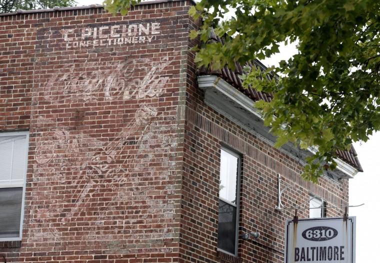 Ghost sign of C. Piccione Confectionery and Coca Cola on Harford Road. (Kim Hairston/Baltimore Sun)