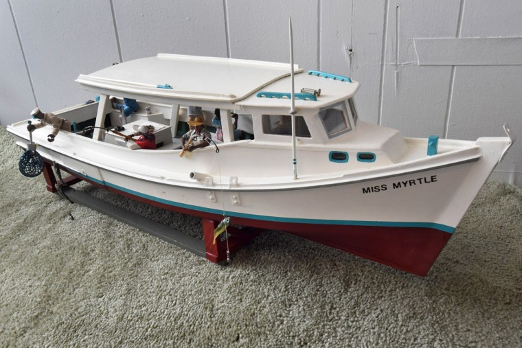 """Miss Myrtle,"" the workboat belonging to Norman Gross' father, Capt. Frank Gross., was the first model crafted by Norman Gross. It was named after his mother, Mary Myrtle, and was a spanking new Bay-built made in Virginia. Capt. Gross used it as a charter boat, and in the winter, during oyster season he put an oyster rig on it. (Amy Davis / The Baltimore Sun)"