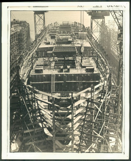 A Liberty ship called the Ben H. Muller under construction at Bethlehem Steel Shipyards in photo dated December 11, 1943. (Baltimore Sun archives)