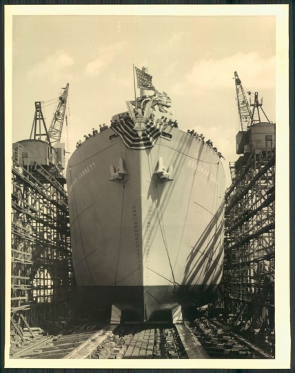 A Liberty ship under construction in photo dated April 12, 1944. (Baltimore Sun archives)