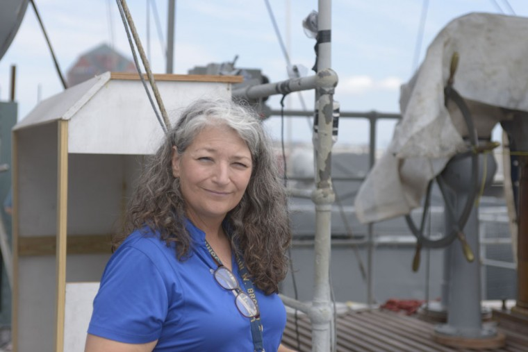 Andrea Horrocks on the deck of the Brown. (Christina Tkacik/Baltimore Sun)