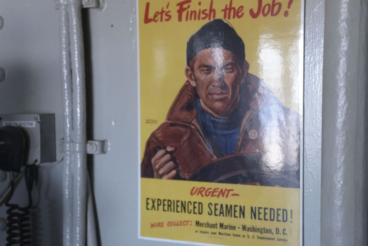 Old propaganda posters from the 1940s call on Americans to join the Merchant Marines. (Christina Tkacik/Baltimore Sun)