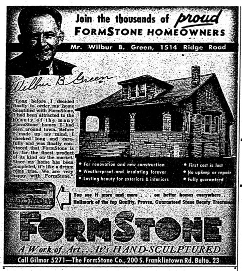 "A 1950 ad for FormStone that ran in The Baltimore Sun urged residents to ""join the thousands of proud FormStone homeowners."" Such ad campaigns were apparently quote successful -- the plethora of formstone clad houses in the city can attest to that. (Baltimore Sun archives)"