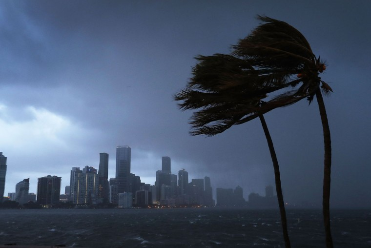 The skyline is seen as the outerbands of Hurricane Irma start to reach Florida on September 9, 2017 in Miami, Florida. Florida is in the path of the Hurricane which may come ashore at category 4. (Photo by Joe Raedle/Getty Images)