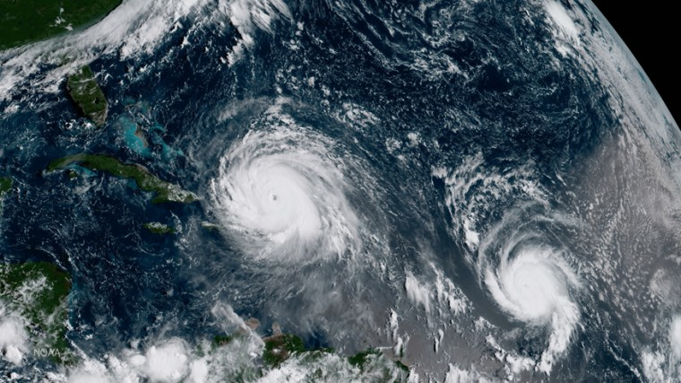 In this NOAA handout image, NOAA's GOES satellite shows Hurricane Irma (left) and Hurricane Jose (right) on September 7, 2017 in the Atlantic Ocean. S (Photo by NOAA GOES Project via Getty Images)