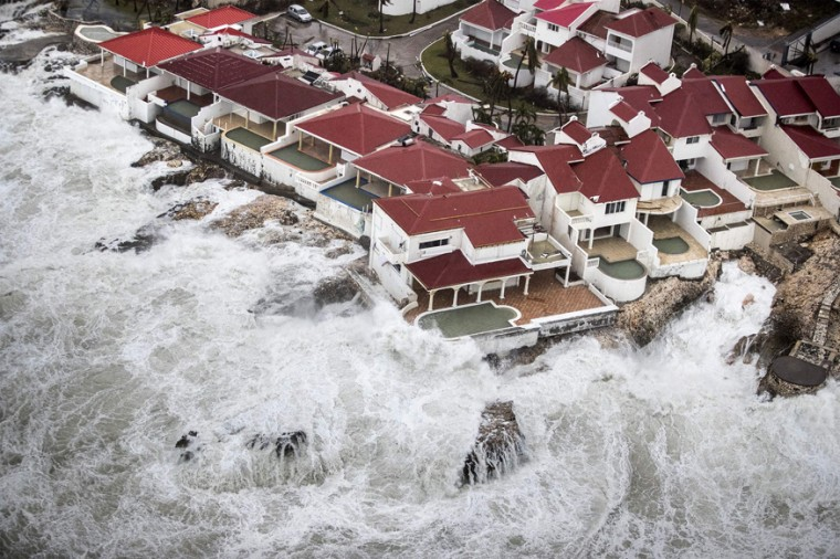 An aerial photo taken and released by the Dutch department of Defense on September 6, 2017, shows the damage of Hurricane Irma, on the Dutch Caribbean island of Sint Maarten. (AFP PHOTO/DUTCH DEFENSE MINISTRY/GERBEN VAN ES)