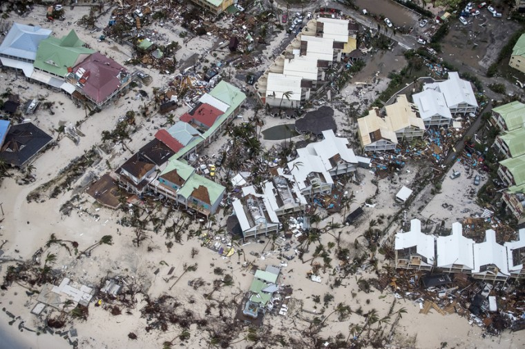 This September 6, 2017, photo provided by the Dutch Defense Ministry shows storm damage in the aftermath of Hurricane Irma, in St. Maarten. Irma cut a path of devastation across the northern Caribbean, leaving thousands homeless after destroying buildings and uprooting trees. Significant damage was reported on the island that is split between French and Dutch control. (Gerben Van Es/Dutch Defense Ministry via AP)