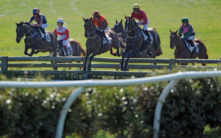 From left, Worried Man (ridden by jockey Kieran Norris), Straight To It (9; jockey Brett Owings), Syros (jockey Sean McDermott), Cornhusker (jockey Mark Beecher) and Canyon Road (jockey Jeff Murphy) compete at a timber jump during the fifth race, called the Brown Advisory Legacy Chase, during the 2017 Legacy Chase at Shawan Downs. (Karl Merton Ferron / Baltimore Sun Staff)