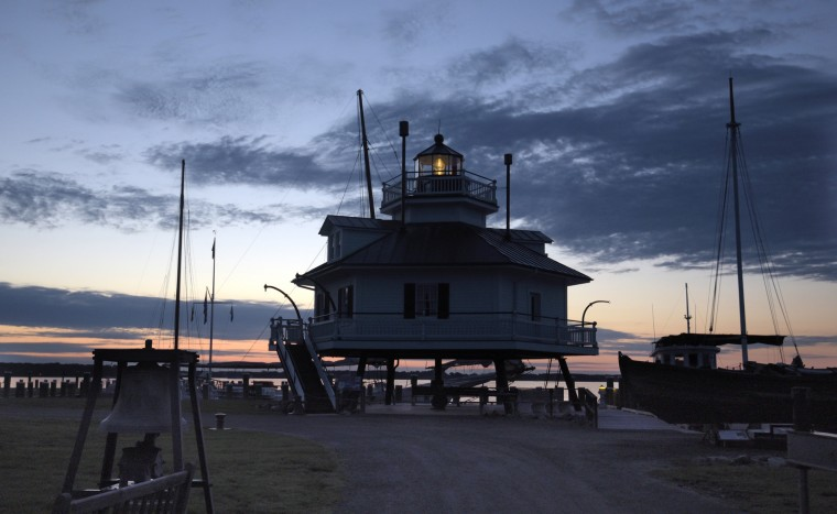 Located on Maryland's Eastern Shore, the 1879 Hooper Strait Lighthouse on the Chesapeake Bay Maritime Museum campus faces the Miles River at Navy Point. Its original location was forty miles south in Hooper Strait where it marked a hidden sand bar. (Algerina Perna/Baltimore Sun)