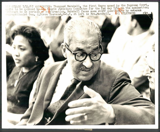 Photo of Thurgood Marshall dated July 15, 1967. (Baltimore Sun archives)