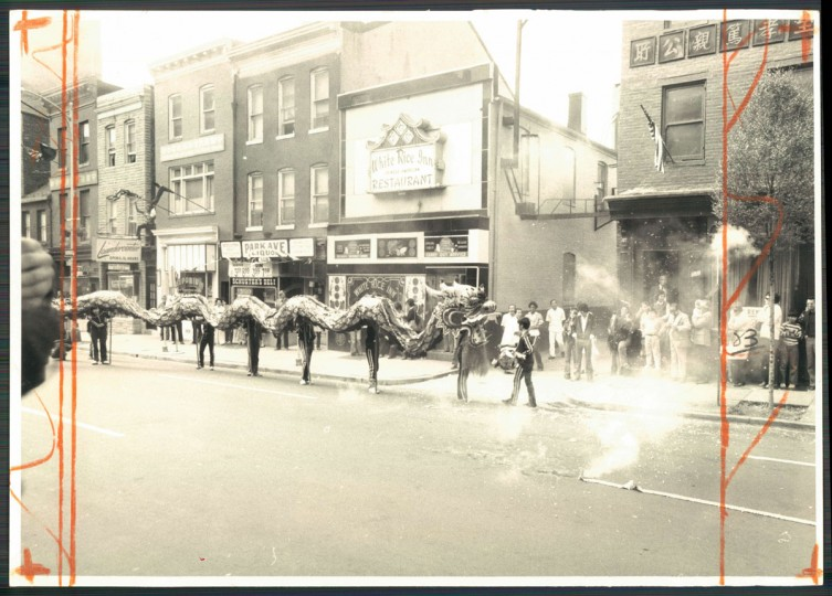 A parade featuring a Chinese dragon on Park Avenue. Photo dated October 11, 1976. (Baltimore Sun archives)