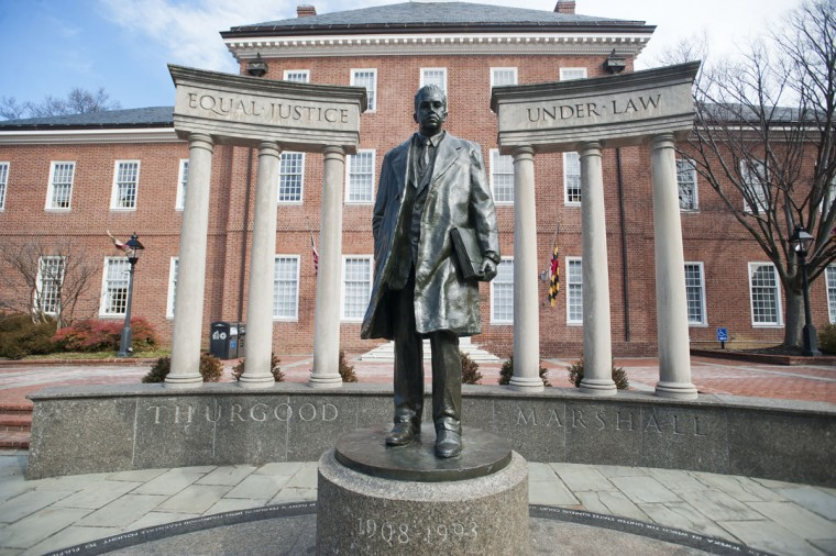 A statue honoring Supreme Court Justice Thurgood Marshall outside the State House in Annapolis. (Baltimore Sun archives)