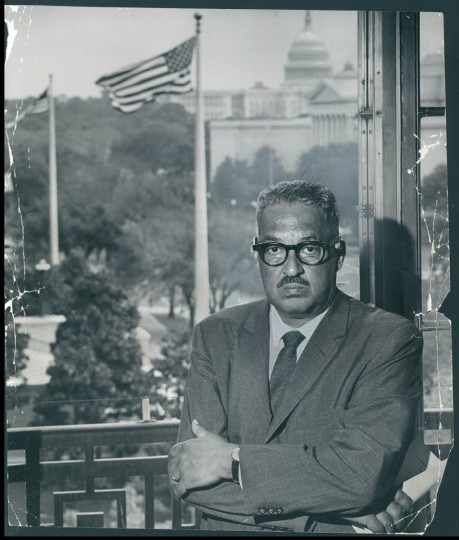 February 20, 1966-THURGOOD MARSHALL--Austere and imposing in a picture taken in his Washington office, Thurgood Marshall, Baltimore born U.S. Solicitor General, can be informal enough to put everyone at ease, has a fund of jokes and stories to illustrate every point. Photo by Sun photographer Richard Stacks. (Baltimore Sun archives)