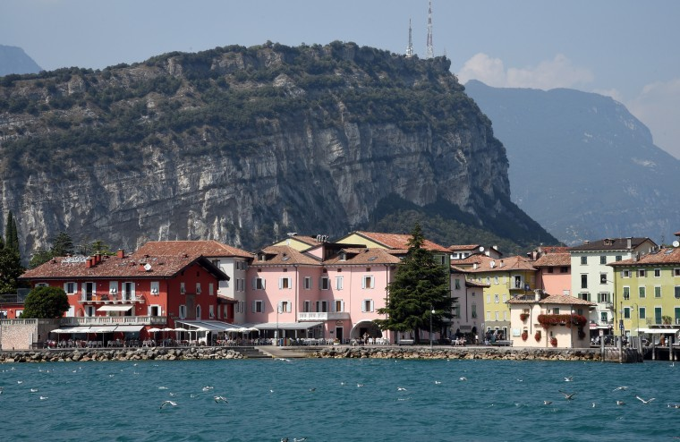 Torbole, Italy -- The seaside town of Torbole is visible from the ferry on Lake Garda at the northern end of the lake where our cousins, Francesca and Donatella took us.  At approximately 143 square miles, Lago del Garda is the largest lake in Italy. (Algerina Perna/Baltimore Sun)