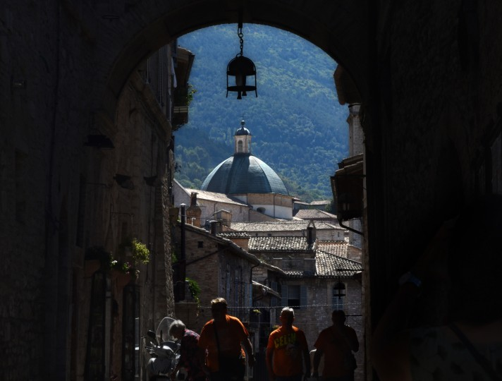 Assisi, Italy -- Winding cobblestone streets lead under archways and over hills and to one of the several churches in the Chiesa Nuova, built in 1615. (Algerina Perna/Baltimore Sun)