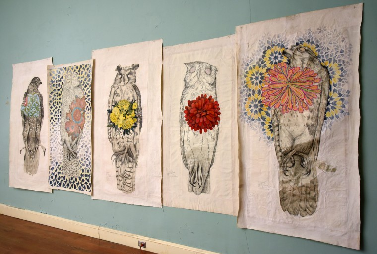 Pencil and gouache drawings of falcons and owls on Nepalese lokta paper, by Monique Luchetti, acknowledge death and life in nature. Luchetti draws birds from ornithology collections in pencil, and then layers these mournful specimens with colorful imagery to represent the former life force and soul of these creatures. (Amy Davis/Baltimore Sun)