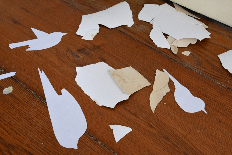 "White paper cut-out bird ""ghosts"" inadvertently mingle with flaking plaster in one of the galleries at the Peale Center still in need of renovation. This is a detail of the installation piece by artist Lynn Parks, a bird advocate and the curator of the  ""Birdland and the Anthropocene""  exhibition. (Amy Davis/Baltimore Sun)"