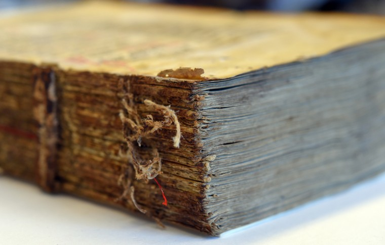 A 12th century St. Francis missal which is being preserved at The Walters Art Museum.  The museum has eight conservators and one conservation scientist on staff to help repair and restore the museum's collection of artifacts that are on display.  (Lloyd Fox/Baltimore Sun)