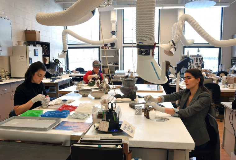 The objects lab is one of the conservation labs at the Walters Art Museum.  Trained conservators clean and preserve historical artifacts at the museum.    (Lloyd Fox/Baltimore Sun)