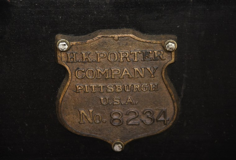 A train builder's plate, cast from waste bronze material, was made by master metal conservator George Harwood at the B & O Railroad museum's restoration shop in west Baltimore.    (Barbara Haddock Taylor/Baltimore Sun)