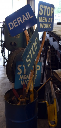 Signs are in a can in the shop at the B & O Railroad museum's restoration shop in west Baltimore.    (Barbara Haddock Taylor/Baltimore Sun)