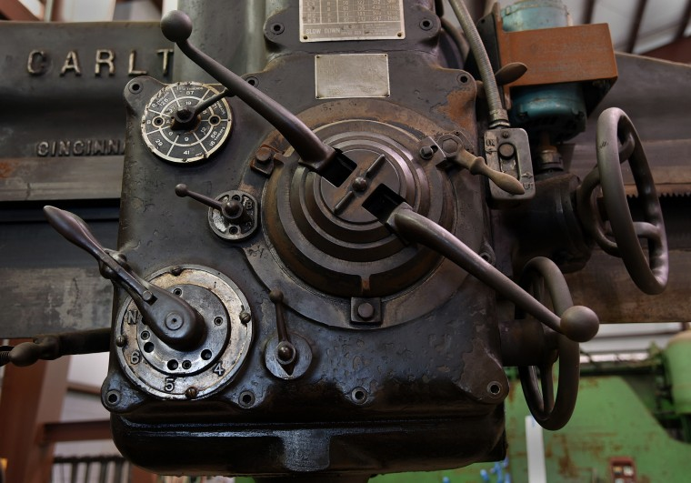 A gear box on a 6-foot radial drill, circa 1930s, is still in use at the B & O Railroad museum's restoration shop in west Baltimore.    (Barbara Haddock Taylor/Baltimore Sun)