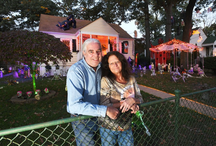 Marcy and Mike Zeller have been decorating their home on Manor Road in Glen Burnie for Halloween and Christmas the last 30 years, but this will be their final year in the area as the couple is moving out of state. (Paul W. Gillespie/Baltimore Sun Media Group)