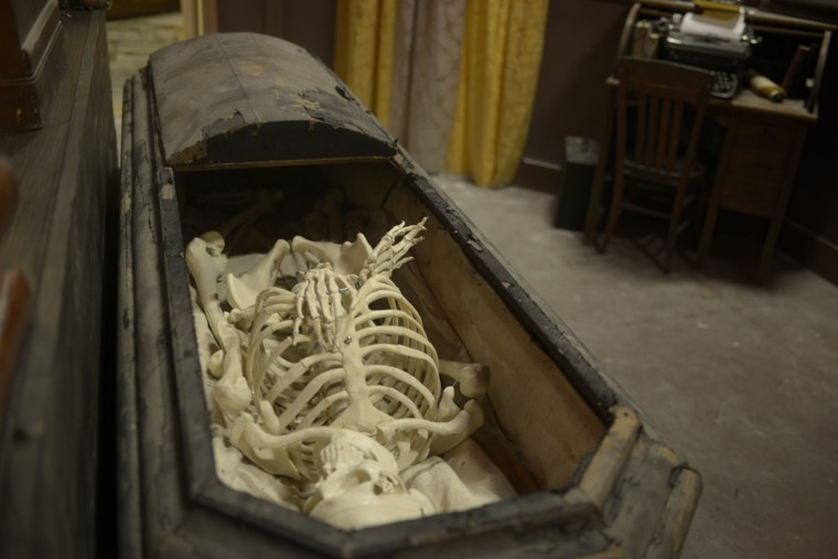 Hudson purchased  props like this coffin at various antique stores near Gettysburg, Pa. Hudson said it cost him $300 – and some surprised looks from store owners. (Christina Tkacik/Baltimore Sun)