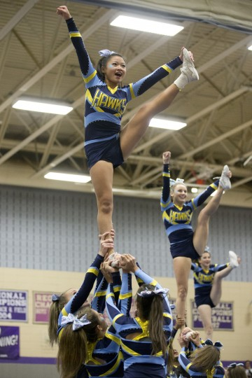 River Hill cheerleaders compete during the Howard County Cheerleading Championships at Long Reach High School in Columbia.