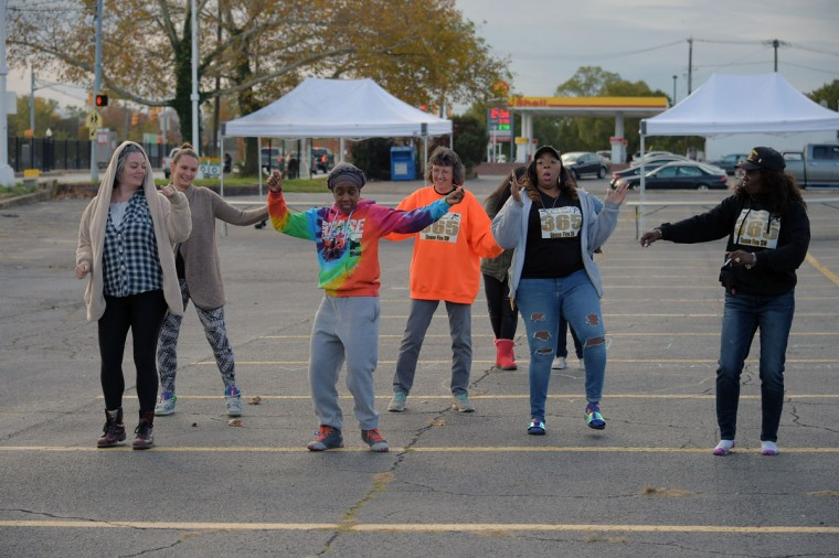 A flash mob dance commences at Edmondson Village Shopping Center, during the second Baltimore Cease Fire weekend. (Karl Merton Ferron / Baltimore Sun Staff)