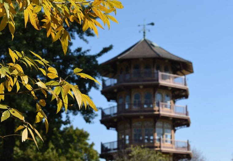 Fall colors are seen near the pagoda at Patterson Park. (Barbara Haddock Taylor/Baltimore Sun)