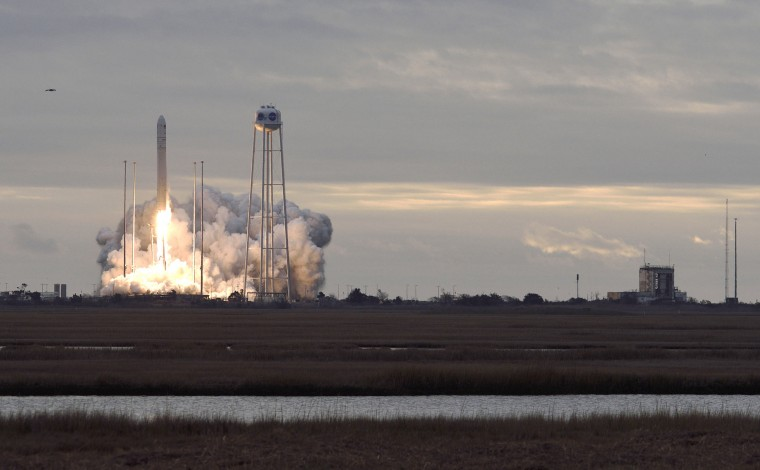 An Antares rocket carrying Orbital ATK's eighth cargo resupply mission to the International Space Station blasts off from the launch pad at NASA's Wallops Flight Facility in Virginia Sunday. The Cygnus spacecraft is named for Gene Cernan,  the NASA astronaut who is the last person to have walked on the moon. It will deliver about 7,400 pounds of science and research, crew supplies and vehicle hardware to the orbital laboratory and its crew. (Dylan Slagle/Baltimore Sun Media Group)