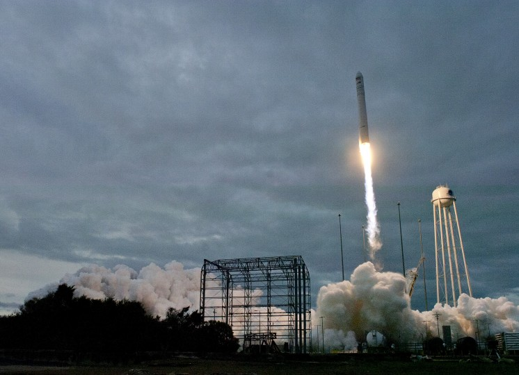 Carrying Orbital ATK's eighth planned Cargo Resupply Mission to the International Space Station, an Antares rocket blasts off from the launch pad at NASA's Wallops Flight Facility in Virginia Sunday, Nov. 12, 2017. The launch, originally scheduled to blast off Saturday, was delayed by 24 hours after an airplane strayed into the launch area. (Dylan Slagle/Baltimore Sun Media Group)