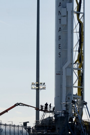 Workers prepare the Antares rocket that will carry Orbital ATK's eighth planned Cargo Resupply Mission to the International Space Station at NASA's Wallops Flight Facility in Virginia Friday, Nov. 10, 2017. (Dylan Slagle/Baltimore Sun Media Group)