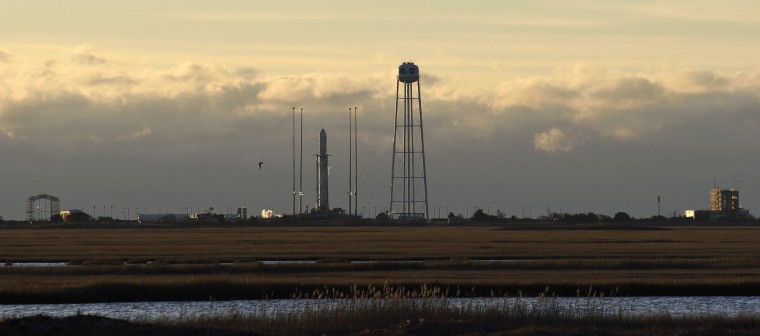 Saturday morning's Antares rocket launch carrying Orbital ATK's eighth planned Cargo Resupply Mission to the International Space Station was aborted just before liftoff after an aircraft was detected in the vicinity of the launch pad at NASA's Wallops Flight Facility in Virginia Nov. 11, 2017. The launch has been rescheduled for Sunday morning at 7:14 a.m. (Dylan Slagle/Baltimore Sun Media Group)