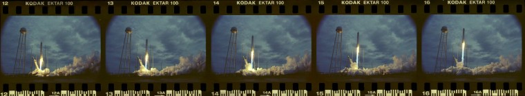 A sequence of images captured by a sound triggered Nikon N90s film camera set about 150 yards away during the launch of the Antares rocket Sunday morning. (Dylan Slagle/Baltimore Sun Media Group)