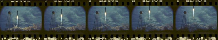 A sequence of images captured by a sound triggered Nikon N90s film camera during the launch of the Antares rocket Sunday morning. (Dylan Slagle/Baltimore Sun Media Group)