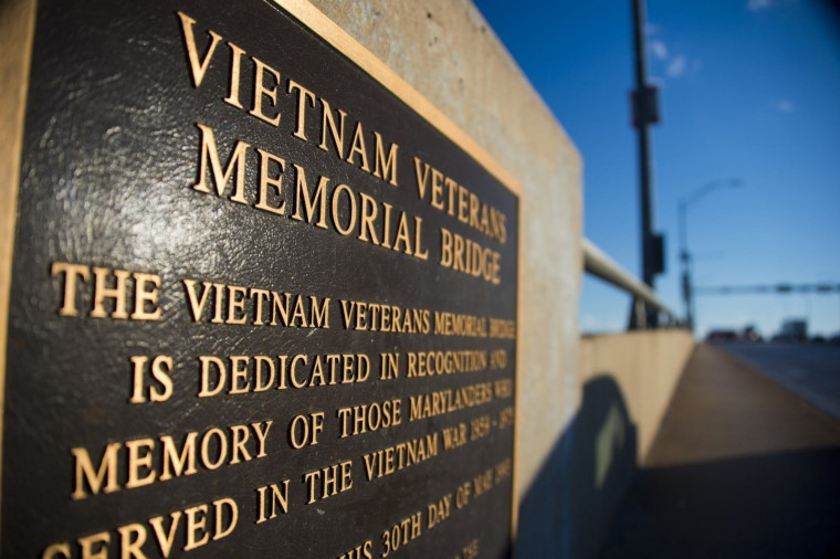 A plaque of the Vietnam Veterans Memorial Bridge, known by many as the Hanover Street Bridge, which links Baltimore and Port Covington with Cherry Hill, Brooklyn and Curtis Bay. (Karl Merton Ferron / Baltimore Sun)