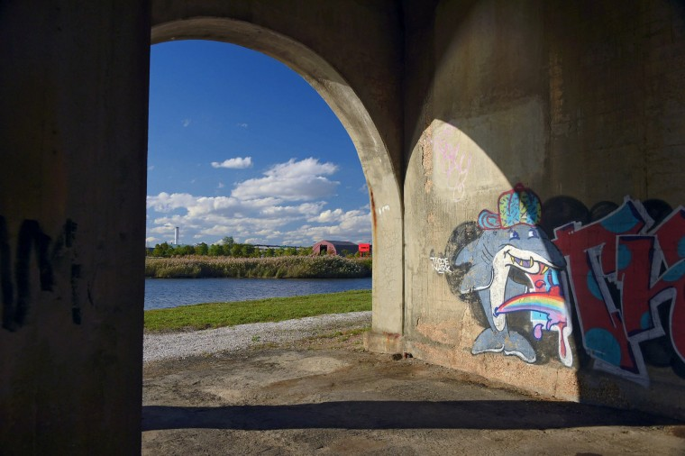 Looking toward the City Garage and I-95, graffiti adds color beneath the bridge deck in a study of the Vietnam Veterans Memorial Bridge, known by many as the Hanover Street Bridge, which links Baltimore and Port Covington with Cherry Hill, Brooklyn and Curtis Bay. (Karl Merton Ferron / Baltimore Sun)