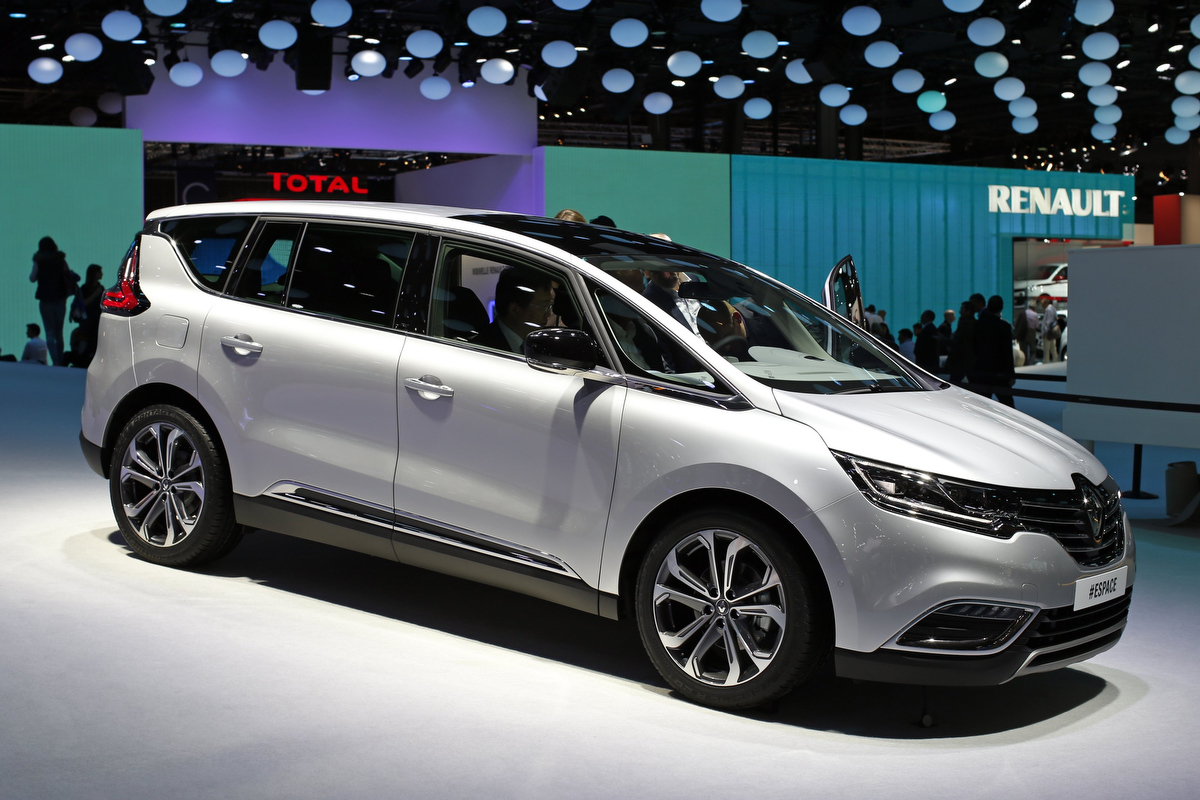 a new renault espace car is displayed on media day at the paris mondial de l automobile. Black Bedroom Furniture Sets. Home Design Ideas