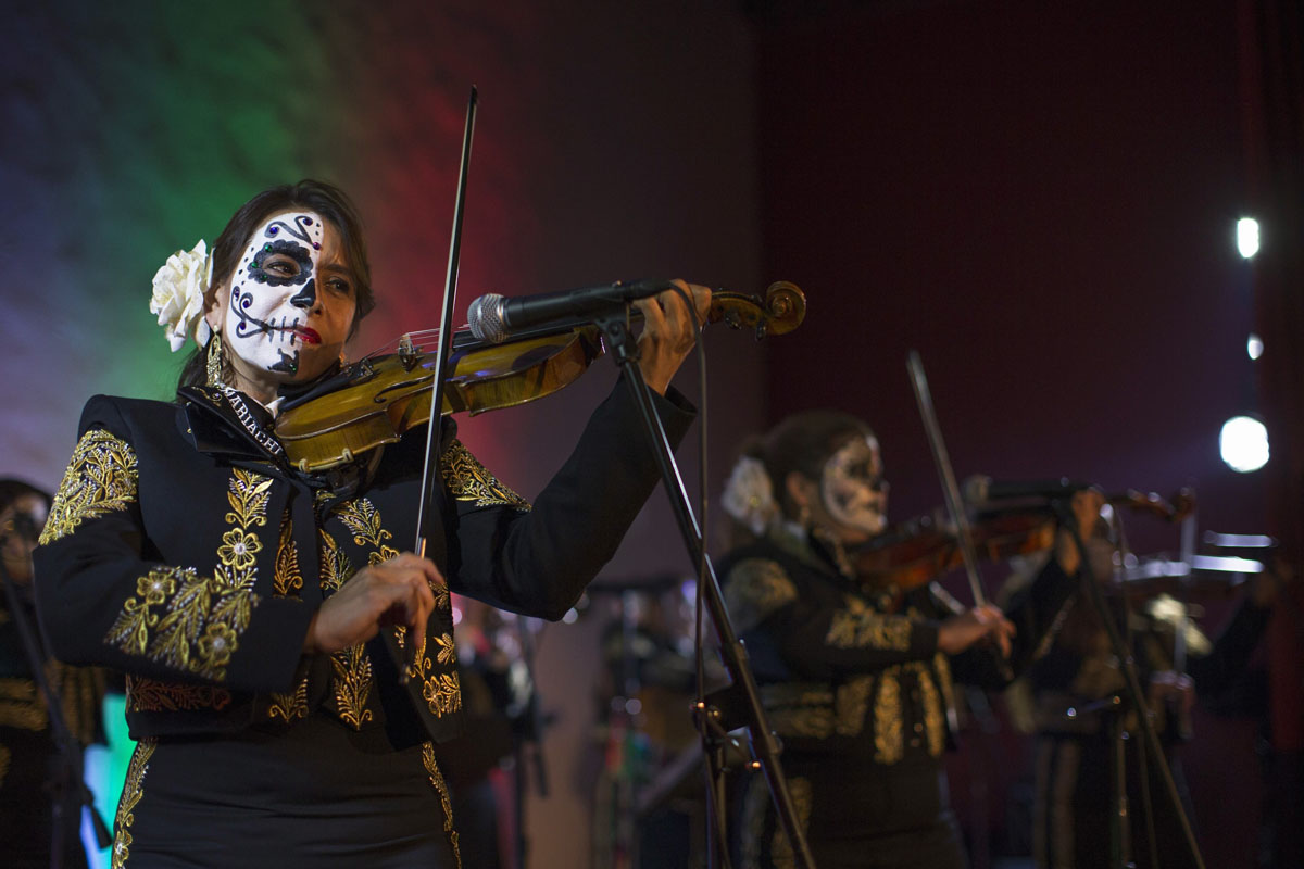 day of the dead the band mariachi divas de cindy shea perform at a press reception ahead of the 15th annual dia de los muertos or day of the dead festival at hollywood