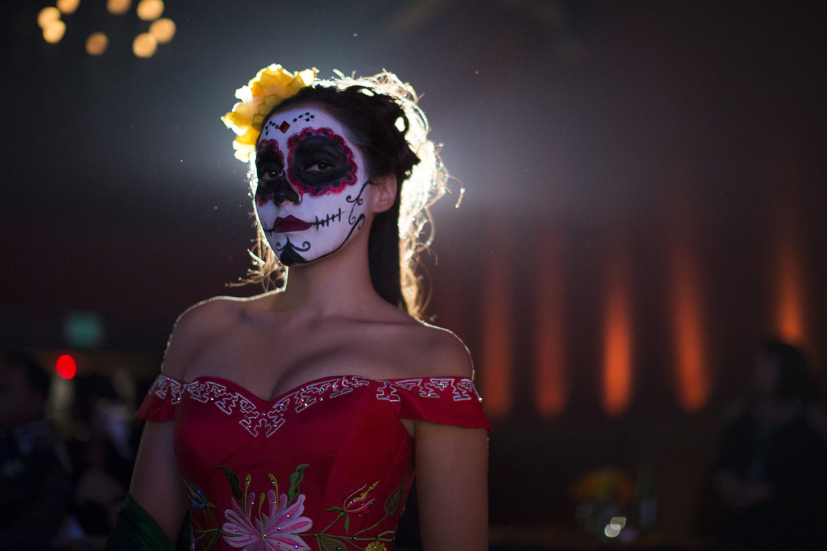 day of the dead a model is pictured during a quinceanera magazine catrina fashion show at a press reception ahead of the 15th annual dia de los muertos or day of the dead
